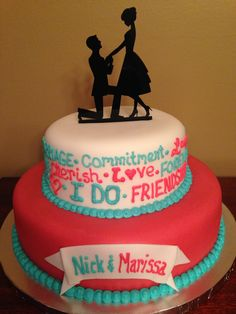 Engagement Party Cake but in black and white or flowers or spring theme?