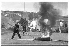 belfast riots 1974 | Children burn tires and block Flying Horse Road, Downpatrick, Northern ...