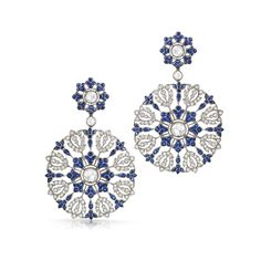 Sapphire and diamond earrings from the Kwiat Vintage Collection in 18K white gold