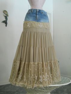 Isabelle bohemian jean skirt exquisite vintage French lace creamy tiered ruffled Renaissance Denim Couture fairy goddess Made to Order via Etsy Sewing Clothes, Diy Clothes, Denim Fashion, Boho Fashion, How To Make Skirt, Altered Couture, Jeans Rock, Frou Frou, Denim And Lace