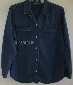 LIZ CLAIBORNE LIZWEAR SHIRT PETITE S NAVY BLUE BLOUSE COTTON COMFORT BEAUTY #Lizwear #ButtonDownShirt