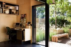 The prefabricated Backyard Room can be used as a quiet space for reading, a man cave, or a full-featured dwelling.