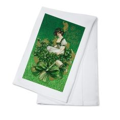 St Patrick Day Souvenir Woman Clover (Green) - Vintage Art (100% Cotton Towel Absorbent)
