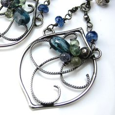 Moss Kyanite and Sapphire Earrings by glowfly on Etsy, $125.00