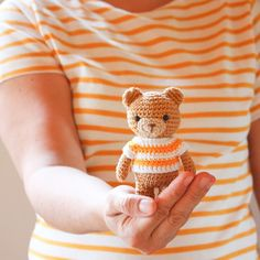 We love this cute crochet bear wearing a matching striped jumper! Crochet Bear, Cotton Crochet, Cute Crochet, Teddy Bear, Embroidery, Photo And Video, Happy, Jumper, Cottage
