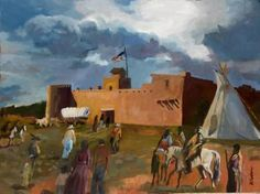 """Artist: David Cooper; Oil 2016 Painting """"Bent's Old Fort"""", La Junta, Colorado / Bent's Old Fort National Historic Site on the Santa Fe Trail in southeastern Colorado is a reconstructed adobe brick fort privately built by fur traders, William and Charles Bent and Ceran St. Vrain, who traded buffalo skins with Cheyenne and Arapaho tribesmen. Active from 1833-49, the fort was a major stopping point on the Santa Fe Trail."""
