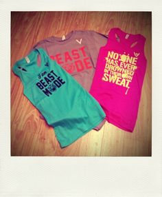 Tanks and Shirts that are blank when you start working out then when you sweat the words appear. Good motivation!!