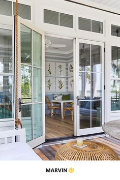 The 2019 Southern Living Idea House is a perfect example of seamless indoor-outdoor living. Each window and door was strategically placed to enjoy the stunning views and river breezes. 📷: Laurey W. Marvin Doors, Marvin Windows, Door Alternatives, Slider Door, Kitchen And Bath Remodeling, Southern Living Homes, Indoor Outdoor Living, Windows And Doors, House Design