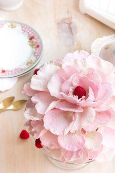 Pastel agua de rosas y frambuesas 2