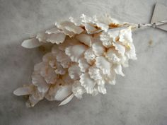 Vintage 1950's millinery flower off white panne velvet taffeta + peps flat back