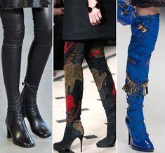 One of the most popular footwear during winter and early spring will be the thigh high boots the another name will be over- the - knee boots. Thigh high boots can help to crate the length of your legs. Its a nice style that can be in both runway and streets, for example on the runway shows for Emanuel Ungaro, A.F. Vande vorst, Vetements, Acne Studios, Kenzo, Anne Sofe Madsen. Also the colors of footwear for SS/2016 are bourbon browns, sweet reds and chalky whites. Jiawei Li.