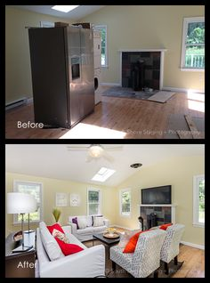 Before and After - Living Room Real Estate Photography, Beautiful Space, Staging, Living Room, Diy, Inspiration, Ideas, Home Decor, Role Play
