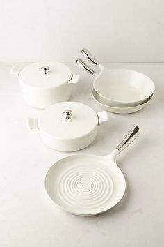 Ceramic cookware set.. healthy alternative to aluminums & toxic non-stick materials, durable and longer lasting. These are the kitchen items your grandkids will use someday ;-) Anthropologie.com