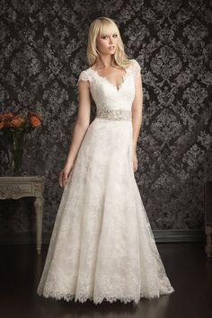Classic Romantic Vintage White $$$ - $1501 to $3000 A-line Allure Bridals Beading Cap Sleeve Country Empire Floor Garden Lace V-neck Vineyard Wedding Dresses Photos & Pictures - WeddingWire.com