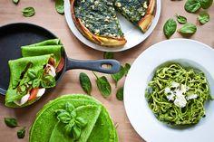 Špenátové menu: Pusťte se do palačinek, slaného koláče nebo těstovin Vegetable Recipes, Vegetarian Recipes, Cooking Recipes, Home Food, Avocado Toast, Mozzarella, Food And Drink, Menu, Vegetables