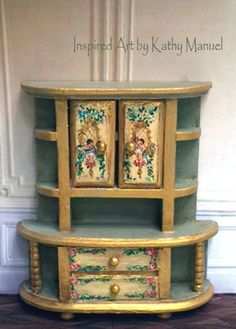 Dollhouse Miniature Painted French Rococo Sideboard Cupboard Victorian K.Manuel #Unbranded
