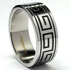 8MM Greek Key Design Stainless Steel Ring Sizes 9 to 13 Bonndorf. $6.45. Surgical Stainless Steel 316. 30-Day Money Back Guarantee. Greek Key Design. Comes with a FREE Ring Box!!