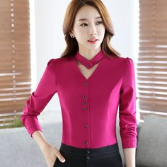 2017 New slim formal long sleeve women shirt OL autumn Elegant V-neck lace Patchwork chiffon blouse office ladies plus size tops Trendy Dresses, Plus Size Dresses, Casual Dresses, Clothes For Women In 20's, Blouses For Women, Plus Size Formal, Plus Size Tops, Blouse Styles, Blouse Designs