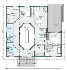 Mal was anderes: Ein HONKA-Blockhaus mit Atrium Atrium, Modern, Floor Plans, Haus, Trendy Tree, House Floor Plans, Floor Plan Drawing