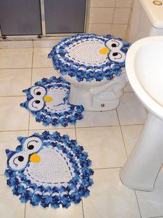 Jogo de Banheiro Coruja Feliz | Ateliê Silvia Rosa | Elo7