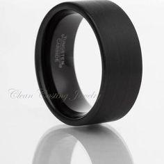 Tungsten Wedding Bands,Tungsten Wedding Ring,Black Tungsten,Brushed Polish,Matte,Anniversary Ring,Engagement Band,Me's Tungsten,12mm
