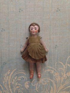 Tiny Antique Vintage Bisque Dollhouse Doll Flapper