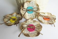 Fleurs en papier de la main inspirés vintage pour Scrapbooking, mariages, broches, Arts altérés, Mini Albums, décoration intérieure, fabrication de cartes
