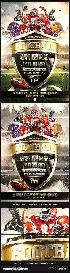 American Football Poster PSD Template Facebook cover and facebook