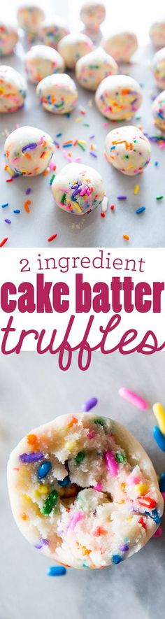 cake batter truffles with just two ingredients- YUM! cake batter truffles with just two ingredients- YUM! Cake Mix Recipes, Baking Recipes, Dessert Recipes, Cake Mixes, Baking Ideas, Cupcake Recipes, Dessert Simple, 2 Ingredient Cakes, Cake Batter Truffles