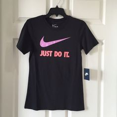 "1 HOUR SALENike ""Just Do It"" Women Tee Shirt Nike ""Just Do It"" Women Tee Shirt NWT Sizes Small, Medium and Large NWT~Athletic Cut~ Nike Tops Tees - Short Sleeve"