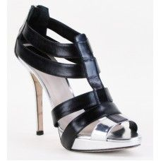 Christian Dior Black and Silver Leather Strappy Sandal Heels