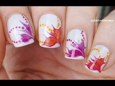 DRY MARBLE NAILS: Needle & Dotting Tool FLOWER NAIL ART - YouTube