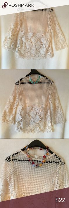 SALE🖤🆕🏝PERFECT COVERUP OVER ST BRIGHT🏝🆕🖤 SIZE S This Ivory White crocheted see thru cover-up top has very slight flare bell sleeves. Floral design halfway up & then changes designs to show off whatever beauty you're wearing underneath. Scalloped edge Hemline. Straight from vendor this is one w/o any visible attached tags. MEAS. 25in. From shoulder⬇️ SLEEVES 20in.↘️ Pit to Pit 15in.↔️ I would say this one is definitely for a small chested gal. Runs small. Not a stretchy material. 100%…