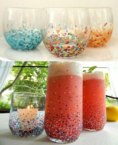 Easy Anthropologie Confetti Tumblers  (and 30 other diy anthropologie crafts)