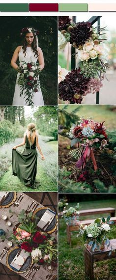 Perfect Fall Wedding Color Palettes of Emerald Green and Burgundy
