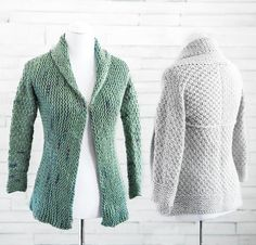 """Courie In is Scottish for """"snuggle up,"""" and this oversized wrap-front cardigan is perfect for doing just that. Cozy, 100% superwash merino wool knits up quickly with enough space between stitches to prevent you from overheating.  Choose from Cloudborn Superwash Merino Bulky yarn in Solid colors or Splash!"""