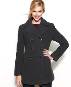 Kenneth Cole Reaction Double-Breasted Wool-Blend Pea Coat | macys.com