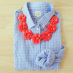 Southern Curls & Pearls- Blue Checker Button Down with a Bold Rose Necklace #fashiontrend
