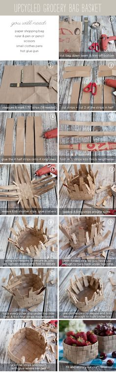 Cesta de papel - Brown paper bag gift baskets- very cool idea! Diy Projects To Try, Crafts To Do, Craft Projects, Crafts For Kids, Paper Crafts, Craft Tutorials, Craft Ideas, Diy Ideas, Easy Crafts