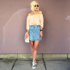 denim skirt for summer in the city by diehuberin