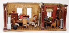 2-part dollhouse room, 54 x 22 x 22 cm, 3 windows, 1
