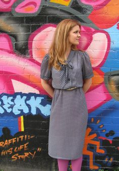 Vintage 1980s black, blue and white check secretary dress - size 12