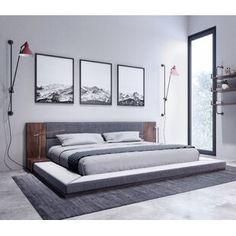 Winston Porter Sagamore Platform Bed | Wayfair Gray Upholstered Headboard, Upholstered Platform Bed, Bedroom Furniture, Bedroom Decor, Bedroom Ideas, Bedroom Designs, Bedroom Lighting, Furniture Decor, Bedroom Beach