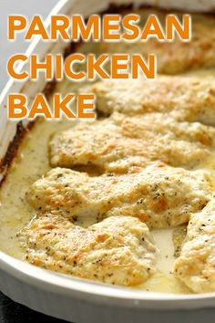 Parmesan Chicken Bake | Six Sisters' Stuff Cheesy Parmesan Chicken Bake comes together in only 5 minutes and uses ingredients that you have on hand: mayo, Parmesan cheese, chicken, and seasonings. Serve over rice or pasta and with a side salad and dinner is done! #chickenbake #parmesan