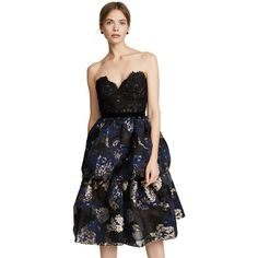 Marchesa Notte Three Tiered Cocktail Dress (67.955 RUB) ❤ liked on Polyvore featuring dresses, black, floral embroidered dress, flower embroidered dress, v neckline dress, knee length cocktail dresses and embroidered cocktail dress