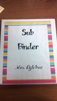 Sub binder- copying ALL of this!!