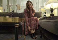Blanca Suarez wearing Pedro García style: Carrie / peep toe mule in black gloss in Vogue  Spain blog.