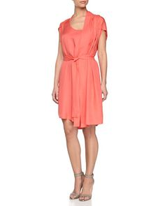 Self-Tie+Waist+Dress+with+Scarf,+Guava+by+Halston+Heritage+at+Neiman+Marcus+Last+Call.