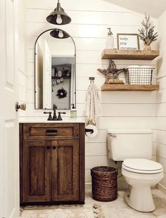These rustic bathroom ideas will allow you to make a big impact with just a few elements. Check it now if you are a fan of rustic bathroom design! 29 Guest Bathroom Ideas to 'Wow' Your Visitors Rustic Bathroom Designs, Bathroom Design Small, Small Bathrooms, Simple Bathroom, Master Bathrooms, Neutral Bathroom, Bath Design, Rustic Bathroom Mirrors, Rustic Master Bathroom