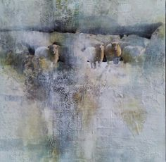Sheep - Mixed Media collage by Jackie Gray - Copyright 2014